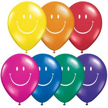 "05"" Assorted Jewel Smile Face Balloon 100pk"