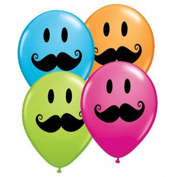 "05"" Assorted Smile Face Mustache Balloons 100pk"